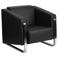 HERCULES Gallant Series Contemporary Black LeatherSoft Chair with Stainless Steel Frame