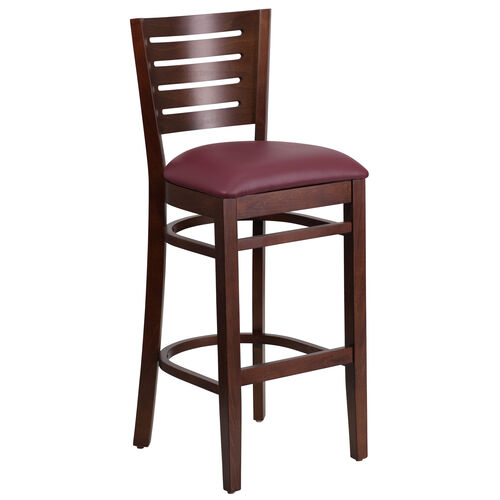 Our Walnut Finished Slat Back Wooden Restaurant Barstool with Burgundy Vinyl Seat is on sale now.