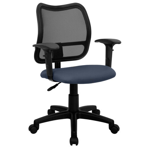 Our Mid-Back Navy Blue Mesh Swivel Task Office Chair with Adjustable Arms is on sale now.