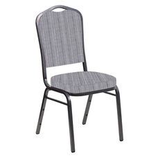Embroidered Crown Back Banquet Chair in Sammie Joe Aluminum Fabric - Silver Vein Frame