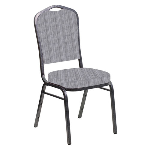 Our Embroidered Crown Back Banquet Chair in Sammie Joe Aluminum Fabric - Silver Vein Frame is on sale now.