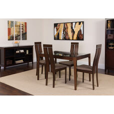 Montclair 5 Piece Espresso Wood Dining Table Set with Glass Top and Clean Line Wood Dining Chairs - Padded Seats