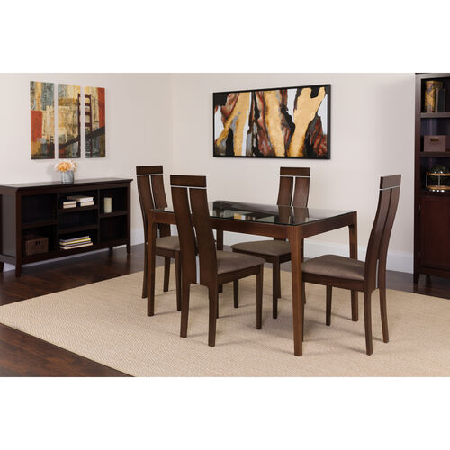 Our Montclair 5 Piece Espresso Wood Dining Table Set with Glass Top and Clean Line Wood Dining Chairs - Padded Seats is on sale now.