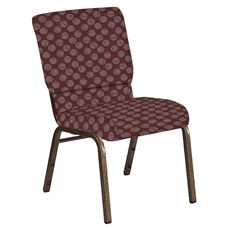 Embroidered 18.5''W Church Chair in Cirque Oxblood Fabric - Gold Vein Frame