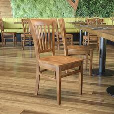 Natural Wood Finished Vertical Slat Back Wooden Restaurant Chair