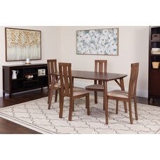 Pullman 5 Piece Walnut Wood Dining Table Set with Vertical Wide Slat Back Wood Dining Chairs - Padded Seats