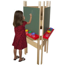 Adjustable Three Person Chalkboard Easel with Durable Plastic Trays Attached - 24