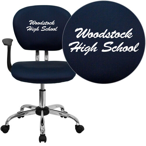 Our Embroidered Mid-Back Navy Mesh Padded Swivel Task Office Chair with Chrome Base and Arms is on sale now.