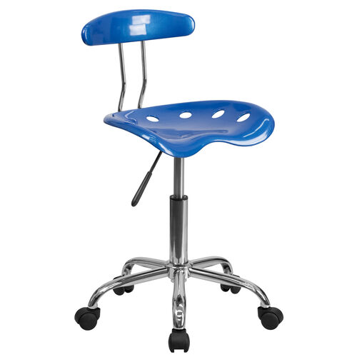 Our Vibrant Bright Blue and Chrome Swivel Task Office Chair with Tractor Seat is on sale now.