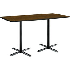 30''W x 72''D Rectangular Laminate Bistro Height Table with Walnut Top - Black X-Base