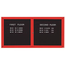 2 Door Indoor Enclosed Directory Board with Red Anodized Aluminum Frame - 36