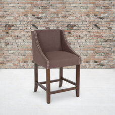 """Carmel Series 24"""" High Transitional Walnut Counter Height Stool with Accent Nail Trim in Brown Fabric"""