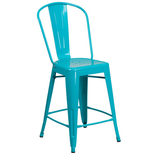 "Our Commercial Grade 24"" High Metal Indoor-Outdoor Counter Height Stool with Back is on sale now."