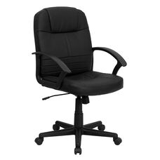 Mid-Back Black Leather Executive Swivel Office Chair with Rounded Back and Arms