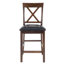 Olsen Oak Casual X-Back Stool with Faux Leather Seat Cushion