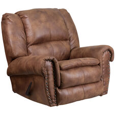 Contemporary Breathable Comfort Padre Almond Fabric Rocker Recliner with Brass Accent Nail Trim
