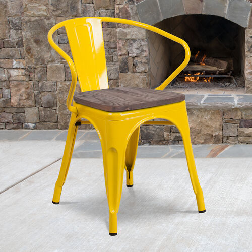 Our Yellow Metal Chair with Wood Seat and Arms is on sale now.