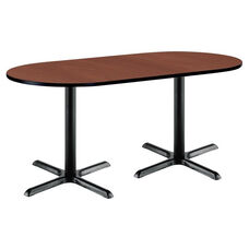30''W x 72''D RaceTrack Laminate Pedestal Table with Mahogany Top - Black X-Base