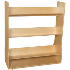 Wooden Angled 3 Shelf Mobile Book Display Cart - 48