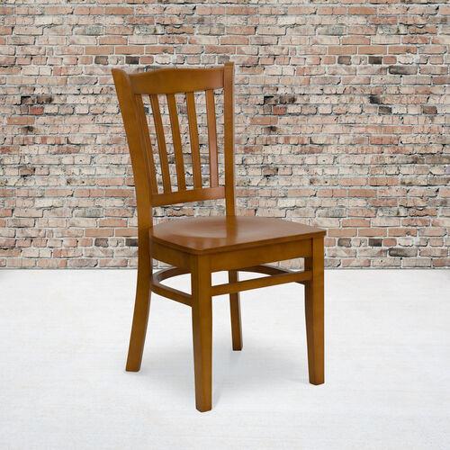 Cherry Finished Vertical Slat Back Wooden Restaurant Chair