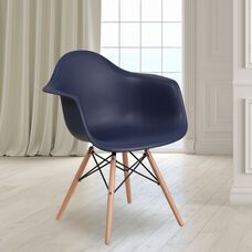 Alonza Series Navy Plastic Chair with Wooden Legs