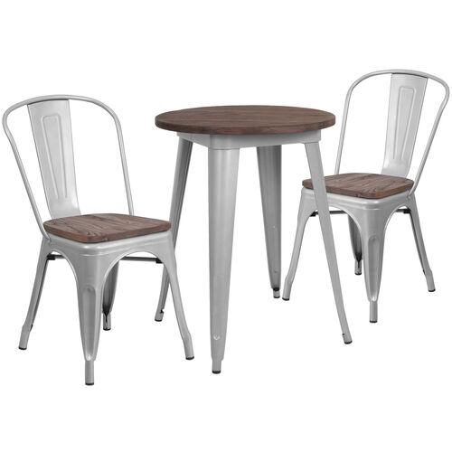 "Our 24"" Round Silver Metal Table Set with Wood Top and 2 Stack Chairs is on sale now."