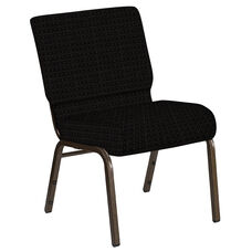 Embroidered 21''W Church Chair in Jewel Onyx Fabric - Gold Vein Frame