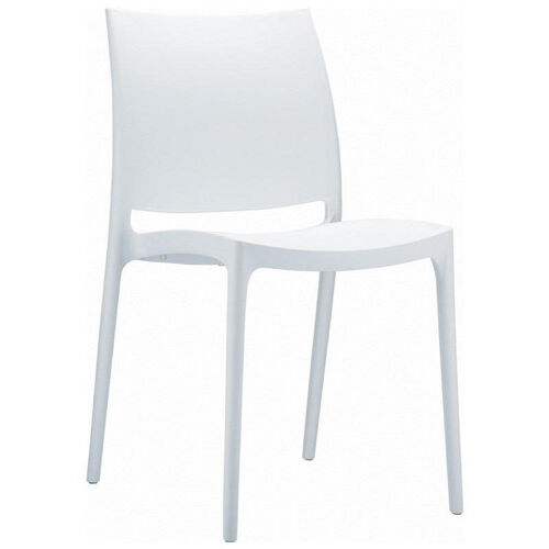 Maya Outdoor Polypropylene Stackable Dining Chair - White