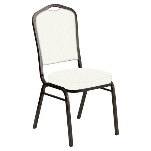 Our Crown Back Banquet Chair in E-Z Marine White Vinyl - Gold Vein Frame is on sale now.