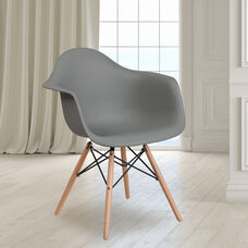 Alonza Series Moss Gray Plastic Chair with Wooden Legs