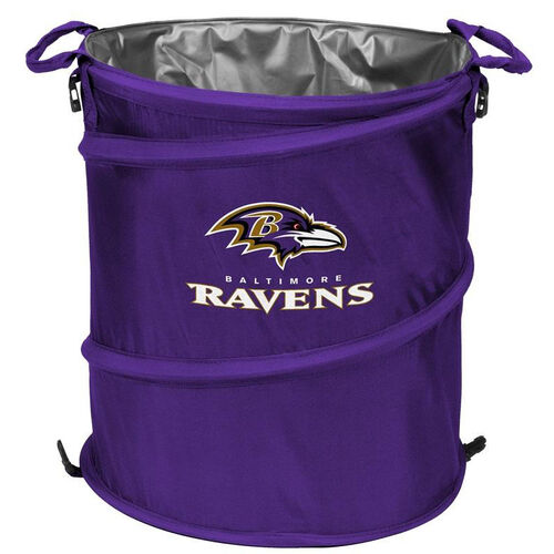 Our Baltimore Ravens Team Logo Collapsible 3-in-1 Cooler Hamper Wastebasket is on sale now.