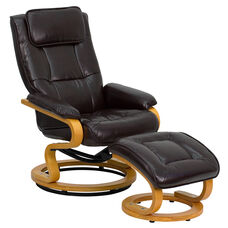 Contemporary Multi-Position Recliner and Ottoman with Swivel Maple Wood Base in Brown Leather