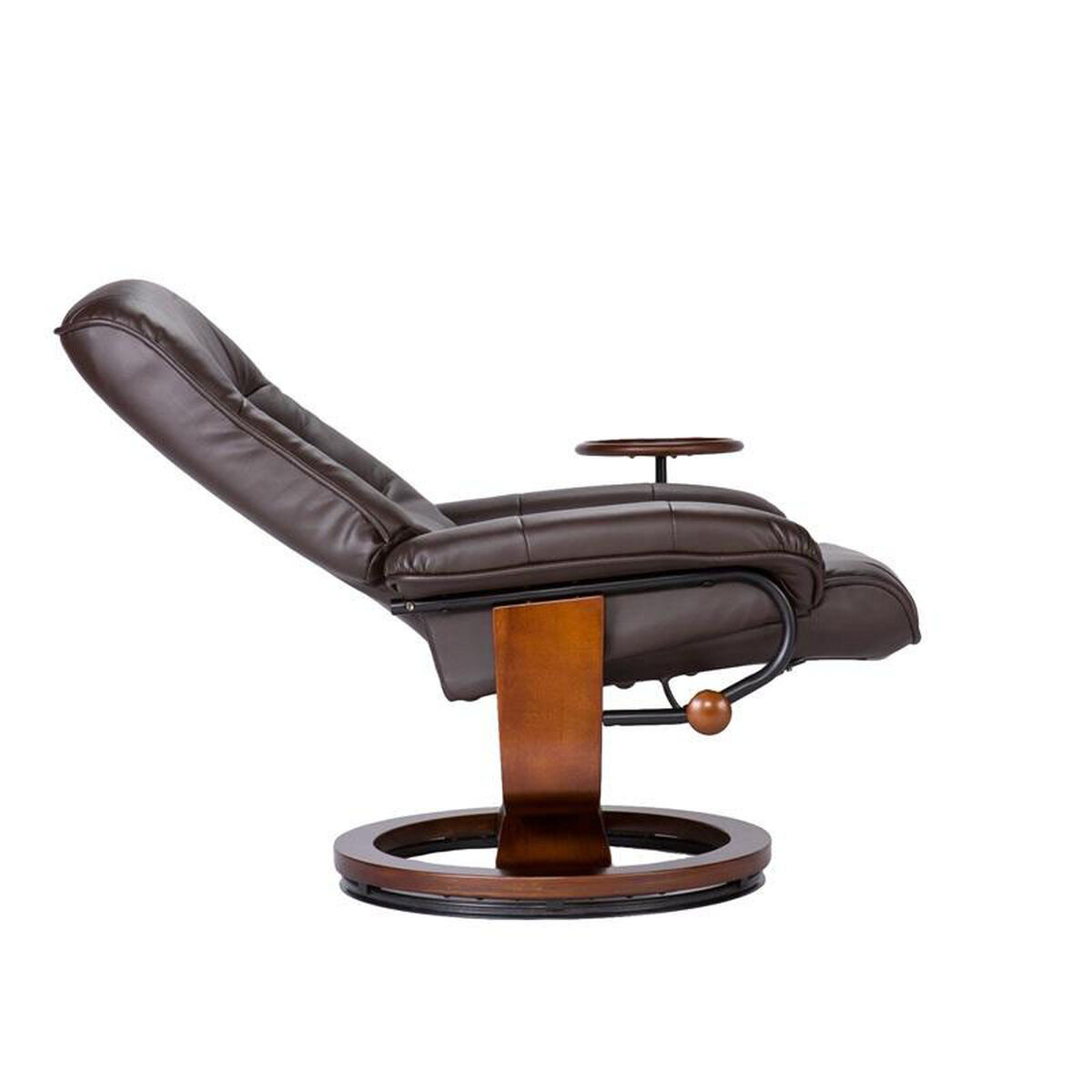 Our bonded leather swivel recliner with attached side table and ottoman cafe brown is on