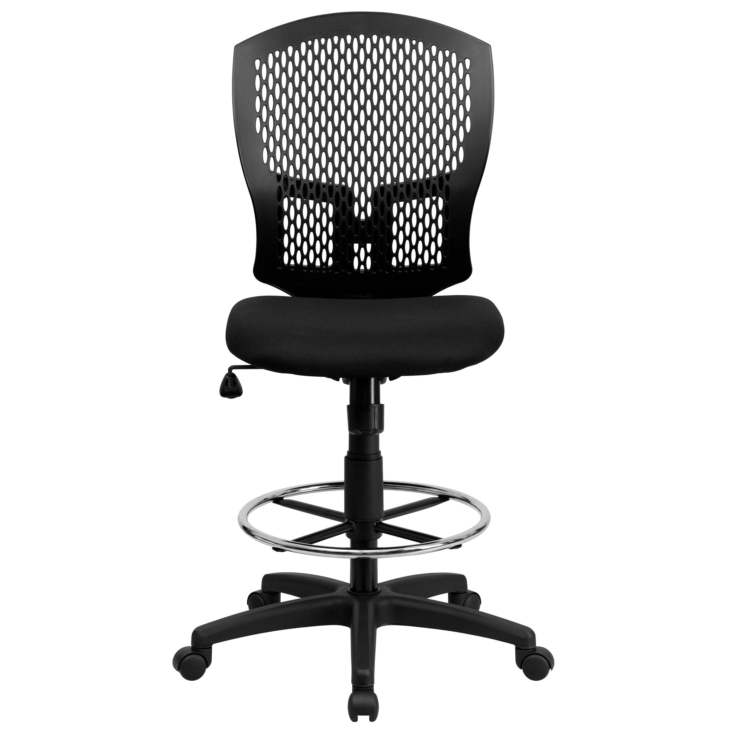 Our Mid Back Designer Back Drafting Chair With Fabric Seat Is On Sale Now.