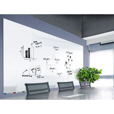 Aria Horizontal Magnetic Glass Dry Erase Board with 4 Markers, Eraser, and 4 Rare Earth Magnets - White - 60