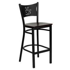 Black Coffee Back Metal Restaurant Barstool with Mahogany Wood Seat
