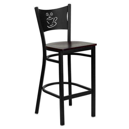 Our Black Coffee Back Metal Restaurant Barstool with Mahogany Wood Seat is on sale now.