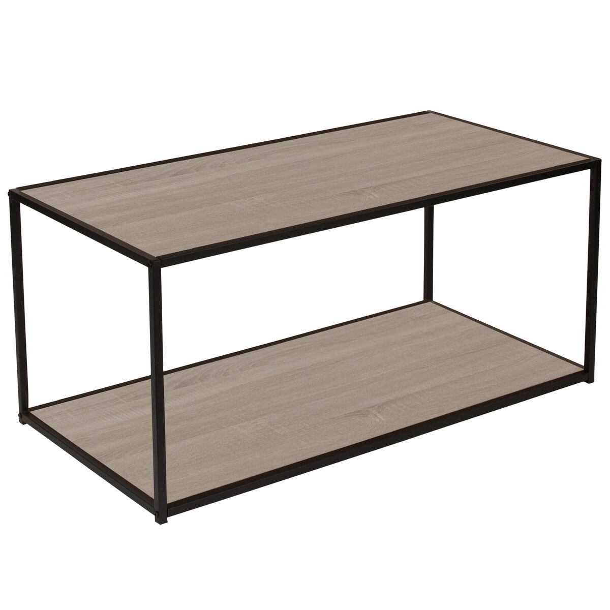 Our Midtown Collection Sonoma Oak Wood Grain Finish Coffee Table With Black Metal Frame Is On