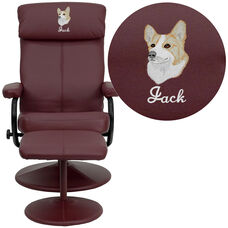 Embroidered Contemporary Multi-Position Headrest Recliner and Ottoman with Wrapped Base in Burgundy Leather