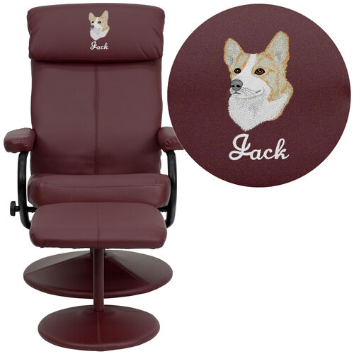 Our Embroidered Contemporary Multi-Position Headrest Recliner and Ottoman with Wrapped Base in Burgundy LeatherSoft is on sale now.