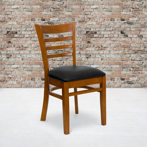 Our Cherry Finished Ladder Back Wooden Restaurant Chair with Black Vinyl Seat is on sale now.