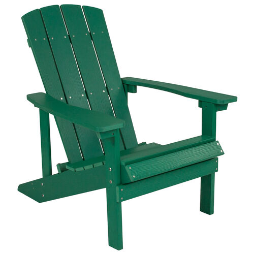 Our Charlestown All-Weather Adirondack Chair in Green Faux Wood is on sale now.