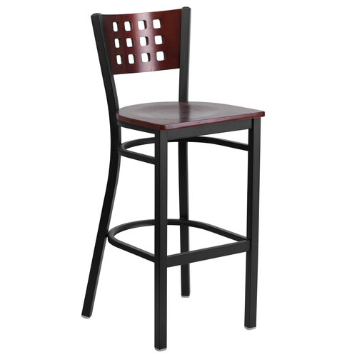 Our Black Decorative Cutout Back Metal Restaurant Barstool with Mahogany Wood Back & Seat is on sale now.