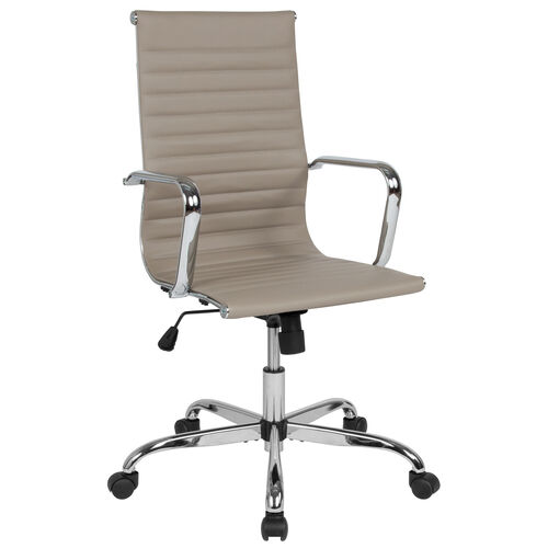 Our High Back Tan LeatherSoft Mid-Century Modern Ribbed Swivel Office Chair with Spring-Tilt Control and Arms is on sale now.