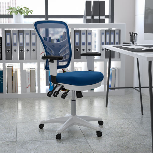 Mid-Back Blue Mesh Multifunction Executive Swivel Ergonomic Office Chair with Adjustable Arms and White Frame