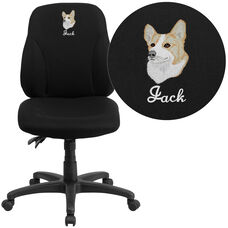 Embroidered Mid-Back Black Fabric Multifunction Swivel Ergonomic Task Office Chair
