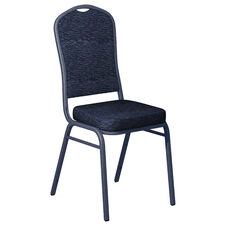 Embroidered Culp Fandango Admiral Fabric Upholstered Crown Back Banquet Chair - Silver Vein Frame