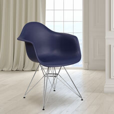 Alonza Series Navy Plastic Chair with Chrome Base