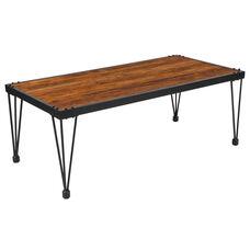 Baldwin Collection Rustic Walnut Burl Wood Grain Finish Coffee Table with Black Metal Legs