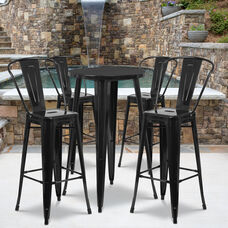 "Commercial Grade 24"" Round Black Metal Indoor-Outdoor Bar Table Set with 4 Cafe Stools"